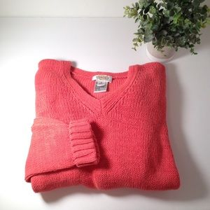 Talbots Coral Colored Knit Sweater